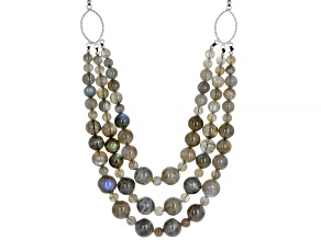 Pre-Owned Gray labradorite  bead 3-strand rhodium over sterling silver necklace