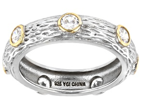 Pre-Owned White Cubic Zirconia Rhodium And 14K Yellow Gold Over Sterling Silver Band Ring 1.26ctw