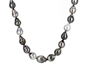 Pre-Owned Cultured Tahitian Pearl Rhodium Over Sterling Silver Necklace 8-10mm