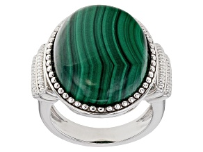 Pre-Owned Green malachite rhodium over sterling silver ring