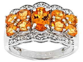 Pre-Owned Mandarin Garnet And White Zircon Rhodium Over Silver Ring. 2.97CTW