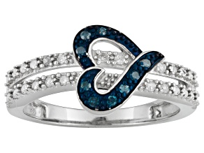 Pre-Owned Blue & White Diamond Rhodium Over Sterling Silver Heart Ring 0.10ctw