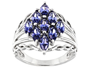 Pre-Owned Blue Cubic Zirconia Rhodium Over Sterling Silver Ring 2.25ctw