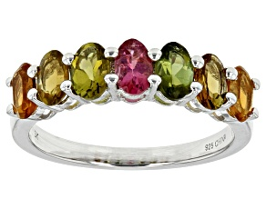 Pre-Owned Multi-Tourmaline Rhodium Over Sterling Silver Band Ring 1.47ctw