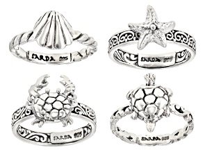 Pre-Owned Sterling Silver Nautical Ring Set Of 4