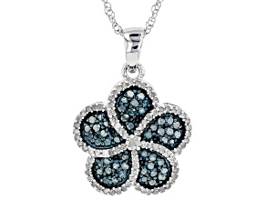 Pre-Owned Blue And White Diamond Rhodium Over Sterling Silver Pendant .86ctw