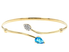 Pre-Owned Swiss Blue Topaz 18k Yellow Gold Over Sterling Silver Cuff Bracelet 1.39ctw