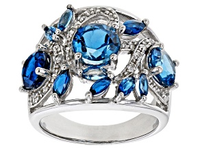 Pre-Owned London Blue Topaz Rhodium Over Sterling Silver Ring 4.14ctw