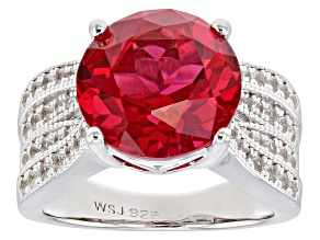 Pre-Owned Pink lab created padparadscha sapphire rhodium over silver ring 7.92ctw