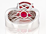 Pre-Owned Pink lab created padparascha sapphire rhodium over silver ring 7.92ctw