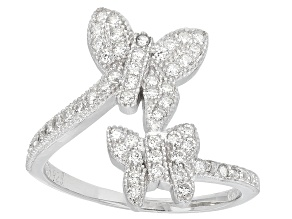 Pre-Owned White Cubic Zirconia Rhodium Over Silver Butterfly Ring 0.57ctw