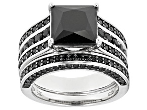 Pre-Owned Black Spinel Rhodium Over Silver Ring With Band 5.09ctw