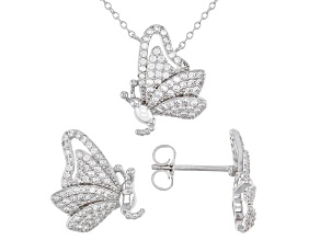 Pre-Owned White Cubic Zirconia Rhodium Over Sterling Silver Butterfly Necklace And Earrings Set 2.00