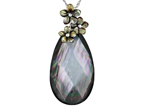 Pre-Owned Tahitian Mother-of-Pearl Rhodium Over Sterling Silver Pendant With Chain