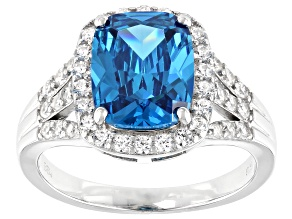 Pre-Owned Blue And White Cubic Zirconia Rhodium Over Sterling Silver Ring 6.49ctw