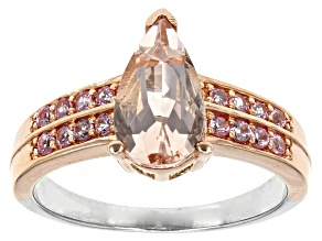 Pre-Owned Pink Morganite Two-Tone Sterling Silver Ring 1.57ctw