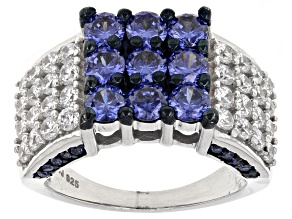 Pre-Owned Blue And White Cubic Zirconia Silver Ring 4.91ctw