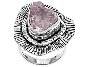 Pre-Owned Pink Morganite Rough Sterling Silver Ring