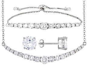Pre-Owned White Cubic Zirconia Rhodium Over Sterling Silver Jewelry Set 13.25ctw