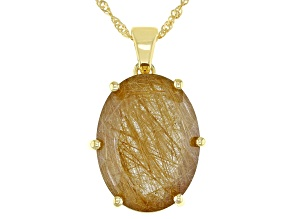 Pre-Owned White Rutilated Quartz 18k Gold Over Silver Solitaire Enhancer Pendant With Chain 13.60ctw