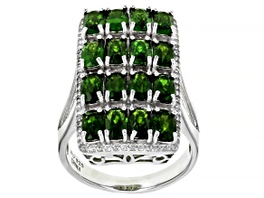 Pre-Owned Green Russian Chrome Diopside Rhodium Over Sterling Silver Ring 5.52ctw