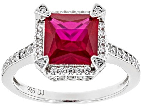 Pre-Owned Lab Created Ruby and White Cubic Zirconia Rhodium Over Sterling Silver Ring 3.86ctw