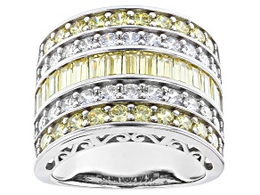Pre-Owned Yellow And White Cubic Zirconia Rhodium Over Sterling Silver Ring 8.94ctw