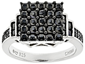Pre-Owned Black Spinel Rhodium Over Sterling Silver Ring 2.31ctw