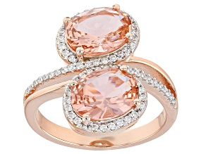 Pre-Owned Morganite Simulant And White Cubic Zirconia 18K Rose Gold Over Sterling Silver Ring 3.94CT