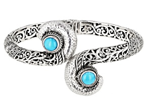 Pre-Owned Turquoise Sleeping Beauty Cabochon Silver Bypass Bracelet