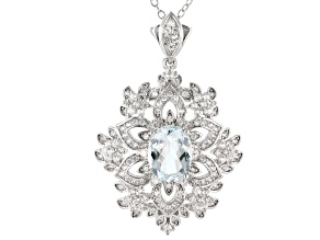 Pre-Owned Aquamarine Rhodium Over Silver Snowflake Pendant W/ Chain 2.97ctw