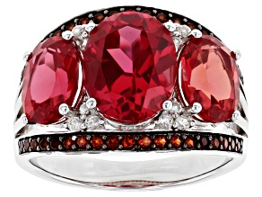 Pre-Owned Pink Lab Created Padparadscha Sapphire Rhodium Over Silver Ring 5.59ctw