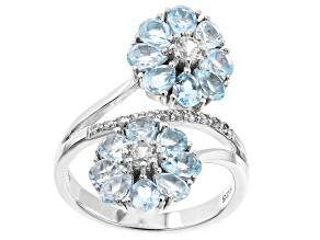 Pre-Owned Sky Blue Topaz  Rhodium Over Silver Flower Bypass Ring 3.10ctw