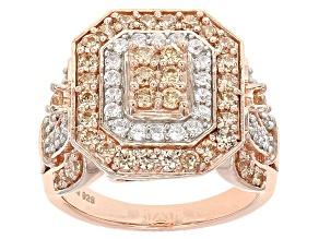 Pre-Owned Brown And White Cubic Zirconia 18k Rose Gold Over Silve Ring 3.10ctw (1.57ctw DEW)