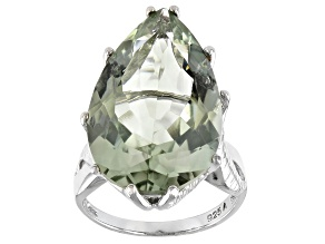 Pre-Owned Green Prasiolite Rhodium Over Silver Ring 18.50ct