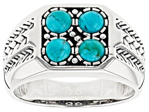 Pre-Owned Turquoise Rhodium Over Sterling Silver Mens Ring