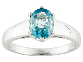 Pre-Owned Blue Zircon Rhodium Over Sterling Silver Solitaire Ring 1.48ctw