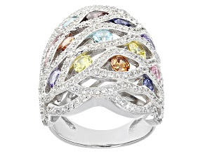 Pre-Owned White/Blue/Lav/Pink/Yellow/Brown Cubic Zirconia Rhodium Over Silver Ring 5.85ctw