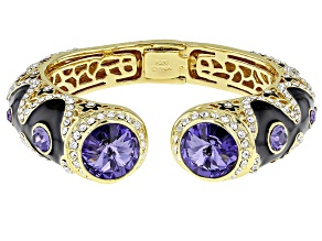 Pre-Owned Multicolor Crystal Gold Tone Bangle Bracelet