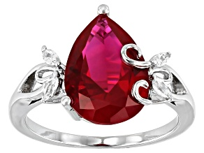 Pre-Owned Red Lab Created Ruby Rhodium Over Sterling Silver Ring 4.25ctw