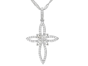 Pre-Owned White Cubic Zirconia Rhodium Over Sterling Silver Cross Pendant With Chain 0.56ctw