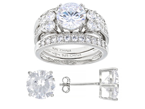 Pre-Owned White Cubic Zirconia Rhodium Over Sterling Silver Stud Earrings And Ring With 2 Bands Set