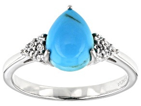 Pre-Owned Blue Kingman Turquoise Rhodium Over Sterling Silver Ring .08ctw