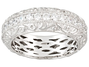 Pre-Owned Womens Scroll Eternity Band Ring White Cubic Zirconia 1ctw Platineve