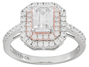 Pre-Owned Cubic Zirconia Rhodium Over Silver and 14K Rose Gold Over Silver Two-Tone Ring 2.35ctw
