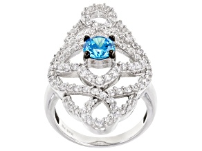 Pre-Owned Blue And White Cubic Zirconia Silver Ring 4.21ctw