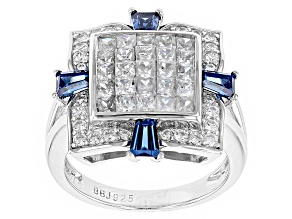 Pre-Owned White And Blue Cubic Zirconia Silver Ring 3.39ctw