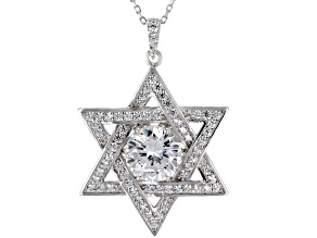 Pre-Owned White Cubic Zirconia Rhodium Over Sterling Silver Star Of David Pendant With Chain