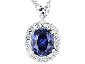 Pre-Owned Blue and White Cubic Zirconia Rhodium Over Sterling Silver Pendant With Chain 6.70ctw