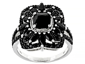 Pre-Owned Black Spinel Rhodium Over Sterling Silver Ring 2.15ctw